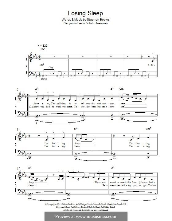 Losing Sleep: For piano by Benjamin Levin, Steve Booker, John Newman