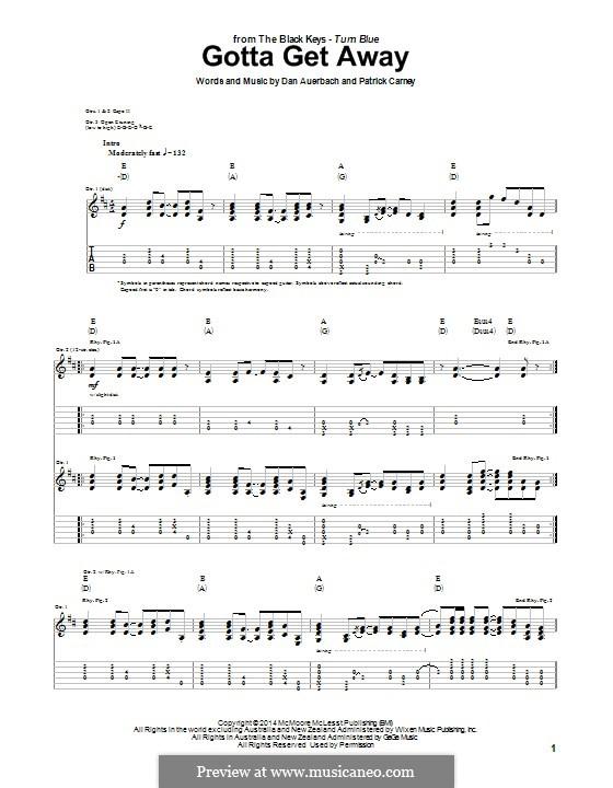 Gotta Get Away (The Black Keys): For guitar with tab by Daniel Auerbach, Patrick Carney