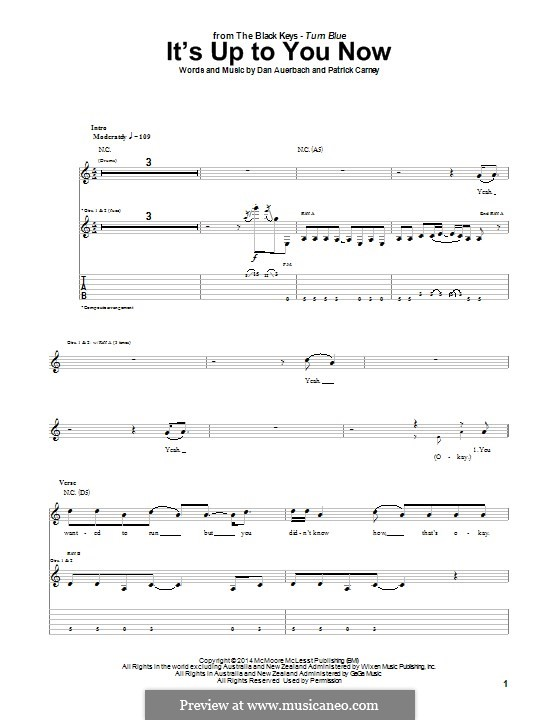 It's Up to You Now (The Black Keys): For guitar with tab by Daniel Auerbach, Patrick Carney