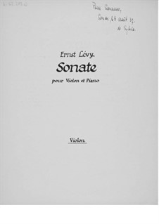 Violin Sonata No.1: Violin Part by Ernst Levy