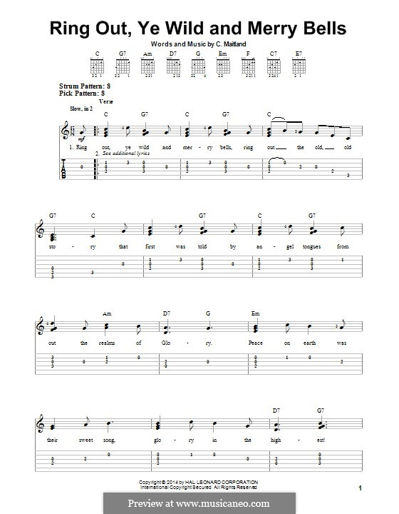 Ring Out, Ye Wild and Merry Bells: For guitar with tab by C. Maitland