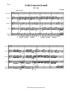 Concerto for Cello and Strings in B Minor, RV 424: Score and all parts by Antonio Vivaldi