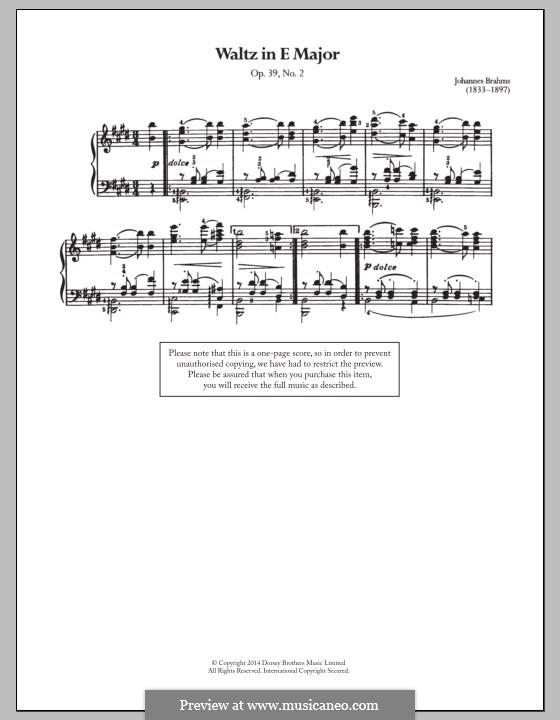 Waltz No.2: Arrangement for piano by Johannes Brahms