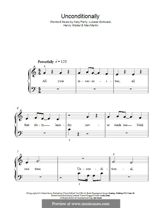 Unconditionally: For piano by Katy Perry, Lukas Gottwald, Max Martin, Henry Russell Walter