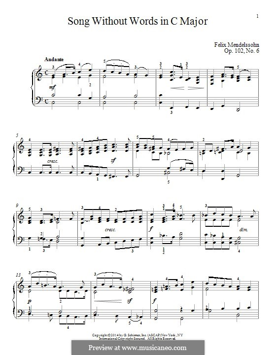 Songs without Words, Op.102: No.6 Andante by Felix Mendelssohn-Bartholdy