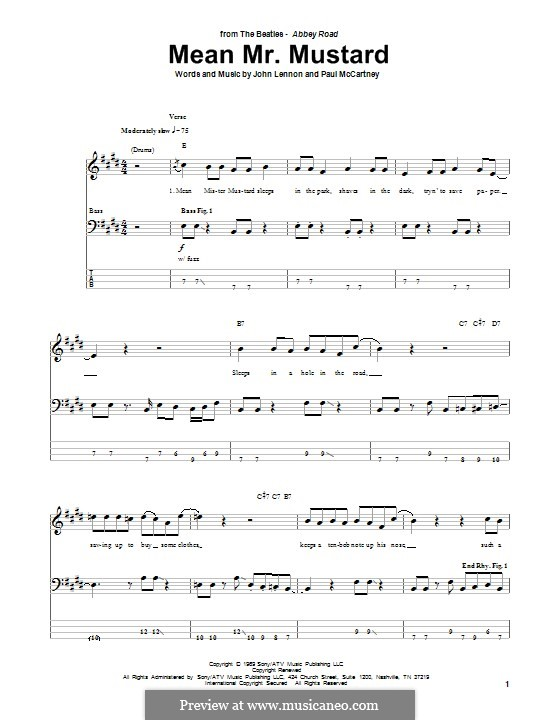 Mean Mr. Mustard (The Beatles): For bass guitar with tab by John Lennon, Paul McCartney