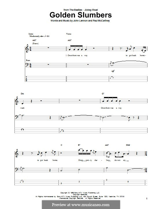 Golden Slumbers (The Beatles): For bass guitar with tab by John Lennon, Paul McCartney