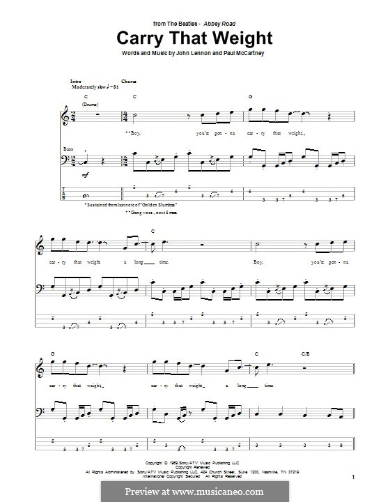 Carry That Weight (The Beatles): For bass guitar with tab by John Lennon, Paul McCartney