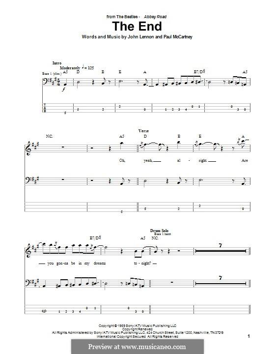 The End (The Beatles): For bass guitar with tab by John Lennon, Paul McCartney