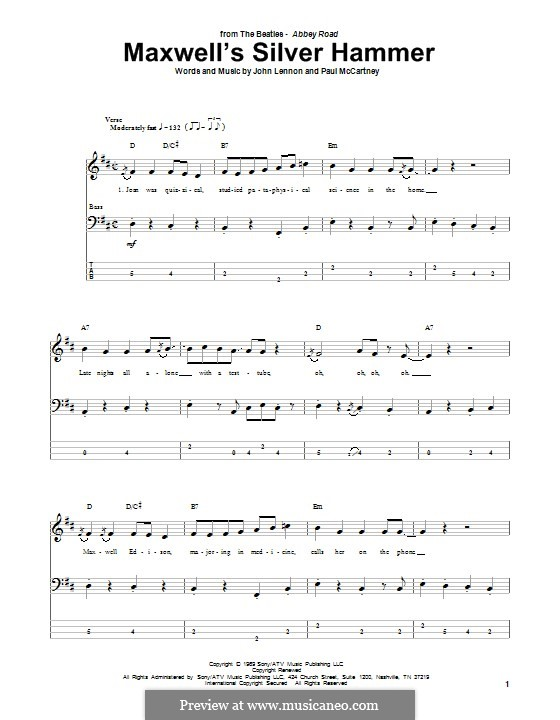 Maxwell's Silver Hammer (The Beatles): For bass guitar with tab by John Lennon, Paul McCartney