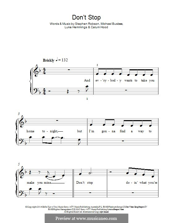 Don't Stop (5 Seconds of Summer): For piano by Busbee, Steve Robson, Calum Hood, Luke Hemmings