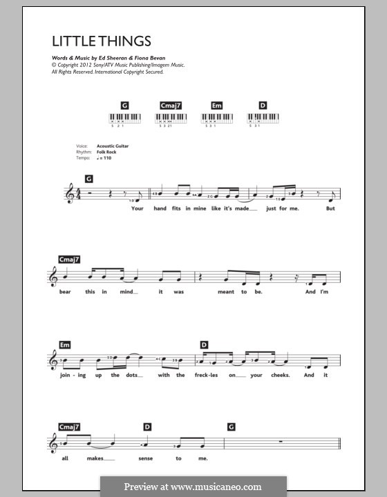 Little Things (One Direction): For keyboard by Ed Sheeran, Fiona Bevan