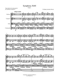 Movement I: For string quartet – score by Wolfgang Amadeus Mozart
