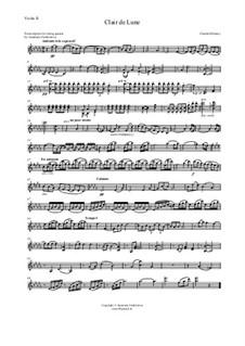 No.3 Clair de lune: For string quartet – violin II part by Claude Debussy