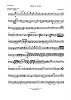 No.3 Clair de lune: For string quartet – cello part by Claude Debussy