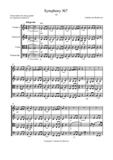 Movement II: Version for string quartet – score by Ludwig van Beethoven