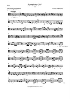 Movement II: Version for string quartet – viola part by Ludwig van Beethoven