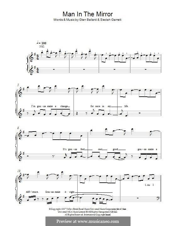Man in the Mirror: For piano by Glen Ballard, Siedah Garrett