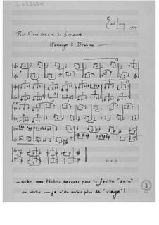 Hommage à Brahms (Pour l'anniversaire de Suzanne): Hommage à Brahms (Pour l'anniversaire de Suzanne) by Ernst Levy