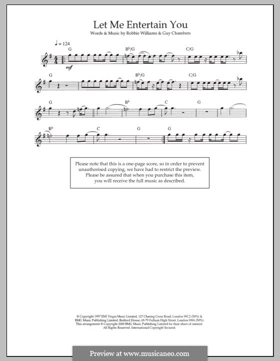 Let Me Entertain You: For flute by Guy Chambers, Robbie Williams
