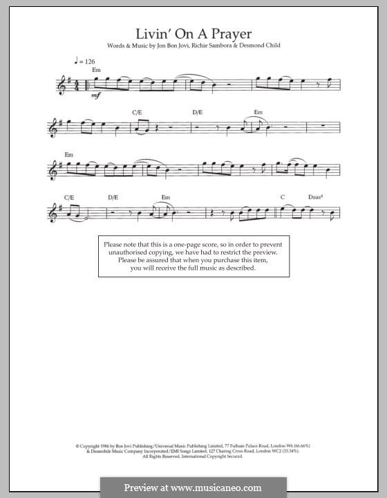 Livin' on a Prayer (Bon Jovi): For flute by Desmond Child, Jon Bon Jovi, Richie Sambora