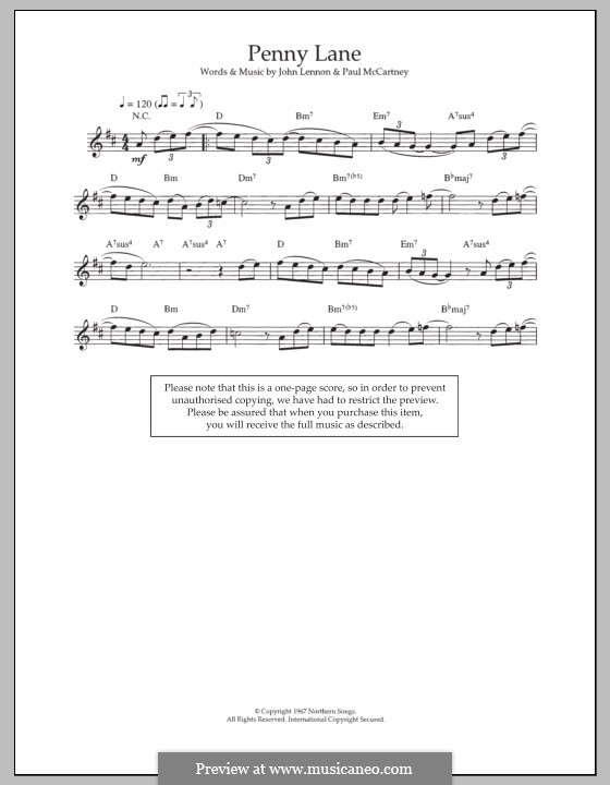 Penny Lane (The Beatles): For flute by John Lennon, Paul McCartney