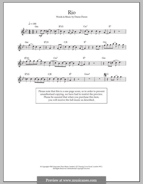 Rio: For flute by Duran Duran