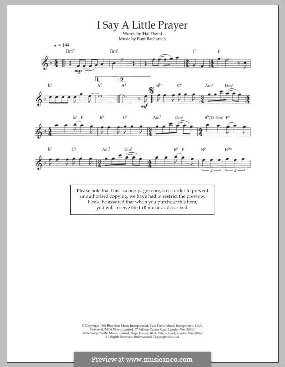 I Say a Little Prayer: For flute by Burt Bacharach