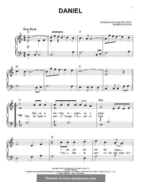 Daniel: For piano by Elton John