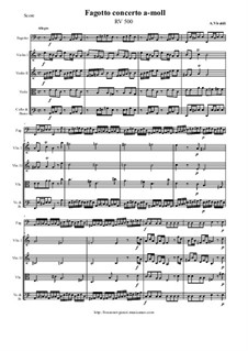 Concerto for Fagotto and Strings in A Minor, RV 500: Score and all parts by Antonio Vivaldi