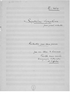 Symphony No.7: Piano score by Ernst Levy