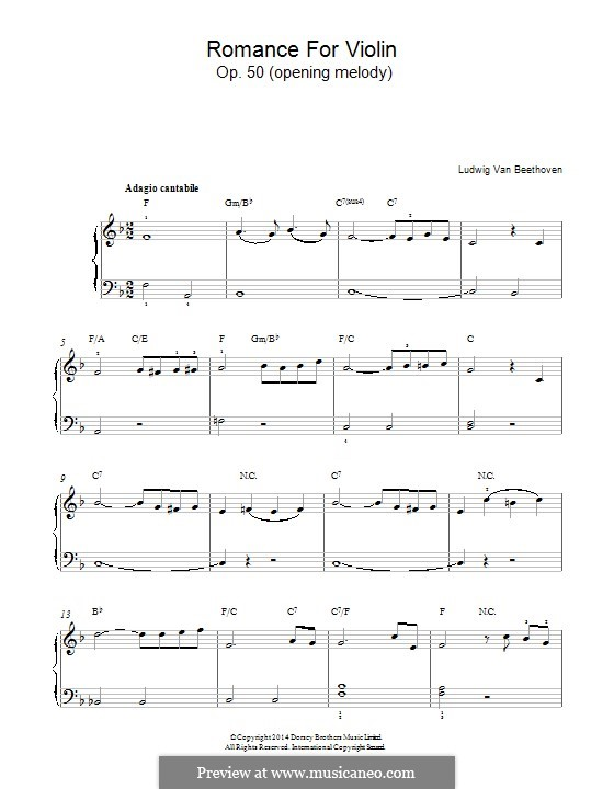 Romance for Violin and Orchestra No.2 in F Major, Op.50: Opening melody. Version for piano by Ludwig van Beethoven