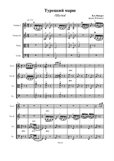Rondo alla turca: For stirng quartet – score, Ор.47 No.14 by Wolfgang Amadeus Mozart