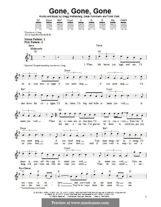 Gone, Gone, Gone: For guitar by Gregg Wattenberg, Derek Fuhrmann