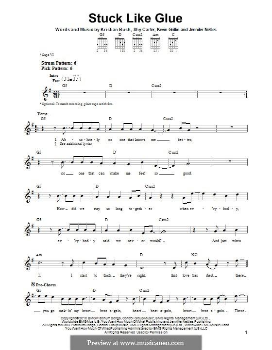 Stuck Like Glue (Sugarland): For guitar by Jennifer Nettles, Kevin Griffin, Kristian Bush, Shy Carter