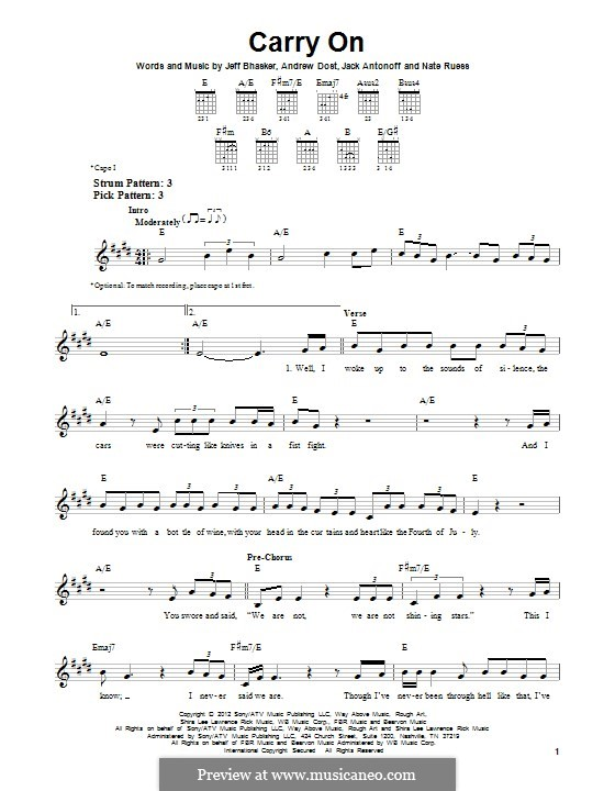 Carry on (Fun): For guitar with tab by Jeff Bhasker, Jack Antonoff, Andrew Dost, Nathaniel Ruess