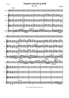 Concerto for Fagotto and Strings in G Minor, RV 496: Score and all parts by Antonio Vivaldi