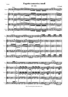 Concerto for Fagotto and Strings in C Minor, RV 480: Score and all parts by Antonio Vivaldi