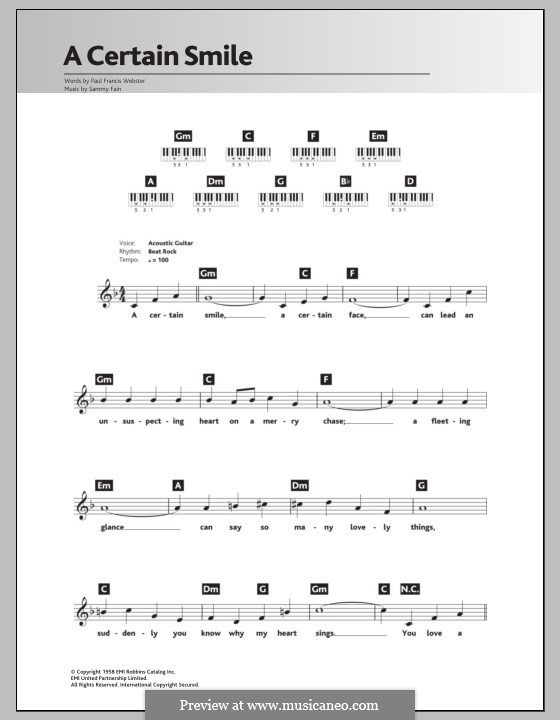 A Certain Smile (Johnny Mathis): For keyboard by Sammy Fain