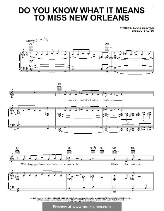 Do You Know What It Means to Miss New Orleans (Louis Armstrong): For voice and piano (or guitar) by Eddie De Lange, Louis Alter