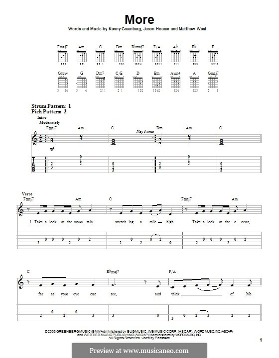 More (Matthew West): For guitar with tab by Jason Houser, Kenny Greenberg