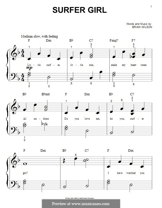 Surfer Girl The Beach Boys By B Wilson Sheet Music On Musicaneo