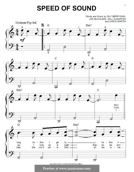 Speed of Sound (Coldplay): For easy piano by Chris Martin, Guy Berryman, Jonny Buckland, Will Champion