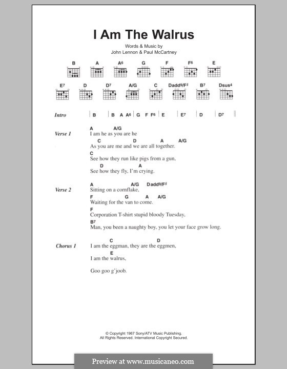 I am the Walrus (The Beatles): Lyrics and chords by John Lennon, Paul McCartney