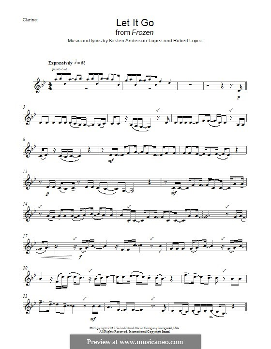 Let It Go (from Frozen): For clarinet (g moll) by Robert Lopez, Kristen Anderson-Lopez