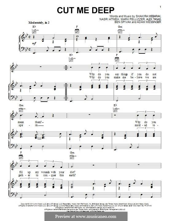 Cut Me Deep (Shakira): For voice and piano (or guitar) by Shakira, Adam Messinger, Nasri Atweh, Mark Pellizzer, Alex Tanas, Ben Spivak