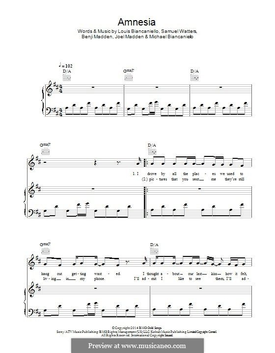 Amnesia (5 Seconds of Summer): For voice and piano (or guitar) by Benji Madden, Joel Madden, Louis Biancaniello, Samuel Watters, Michael Biancaniello