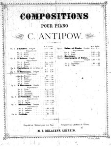 Five Pieces for Piano, Op.5 No.2: Complete set by Konstantin Antipov