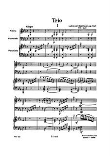 Three Piano Trios, Op.1: Trio No.1 by Ludwig van Beethoven