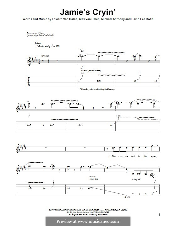 Jamie's Cryin' (Van Halen): For guitar with tab by Alex Van Halen, David Lee Roth, Edward Van Halen, Michael Anthony